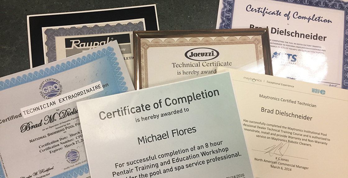 Just a few of the numerous official certifications our talented staff has earned. Professional training is part of being an authorized dealer!